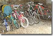 Children's and adults bikes ready for use by our guests